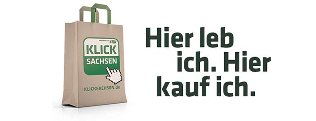 """Banner der Aktion KlickSachsen mit Aufschrift """"Hier leb ich. Hier kauf ich."""""""